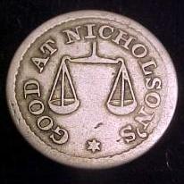 Half Dime token Nicholson's St. Louis, MO obverse