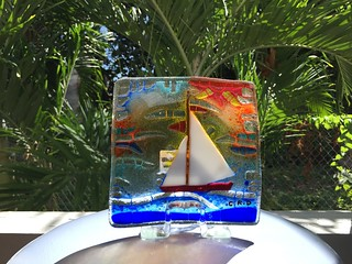 Colorful artistic glass found at The Gallery Café on St Kitts