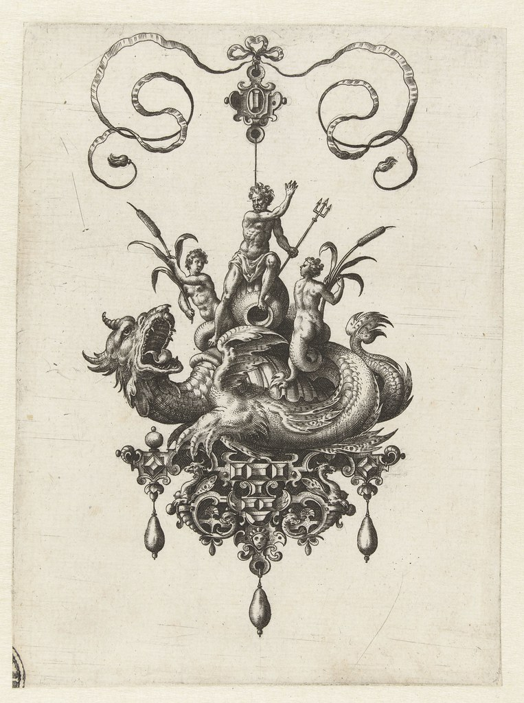 Pendant with dragon and Neptune - Adriaen Collaert and Hans Collaert (I) attributed as printmakers, published by Philips Galle, 1582