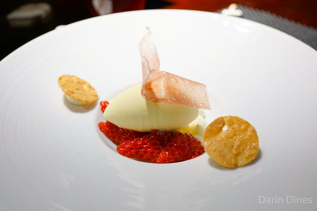 La Fraise japanese strawberries, kirsch ice cream with crispy almond tuile