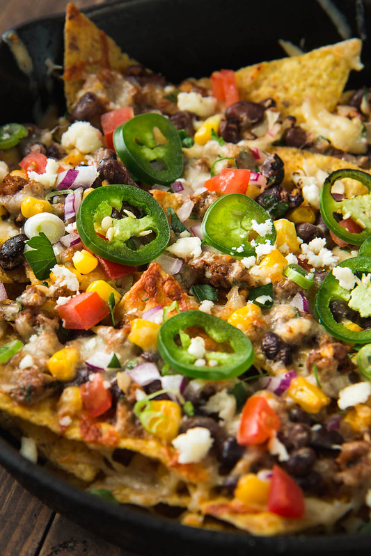 Loaded Nachos with Chorizo, Black Beans, & Corn