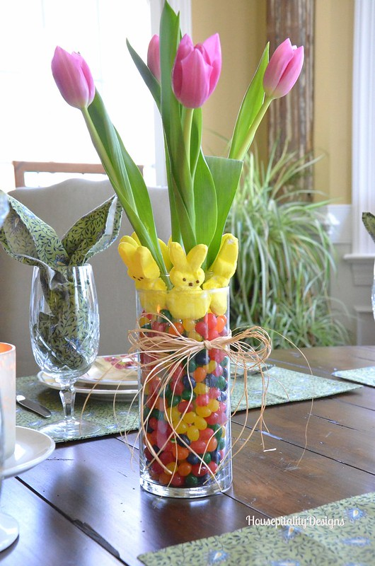 peeps and jelly bean vases and bunny ear napkins tablescape