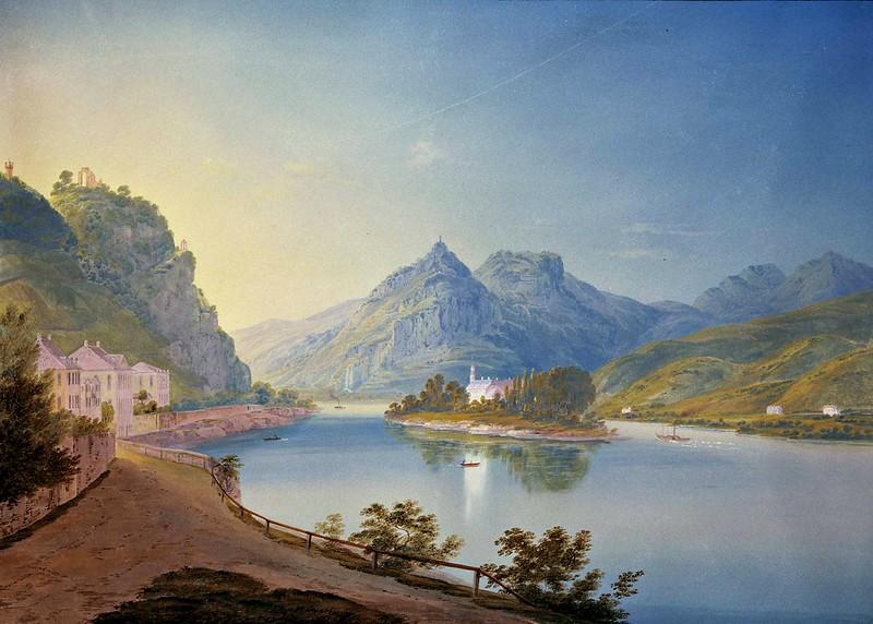 Eugene Isabey - Nonnenwerth Rolandseck Siebengebirge (1840)