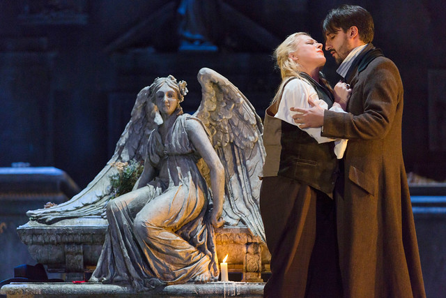 Charles Castronovo and Diana Damrau in Katie Mitchell's Lucia di Lammermoor ©2016 ROH. Photograph by Stephen Cummiskey