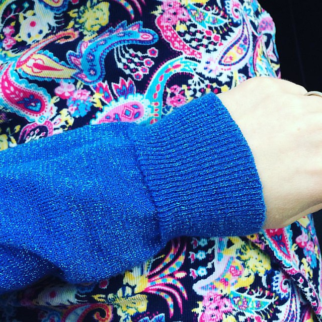 Today's outfit: Blue sparkle sweater and Paisley corduroy skirt that I made.