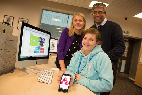Jayne Tramontana, Susan Pearson (Community learner) and Aftab Hussain (with mobile)