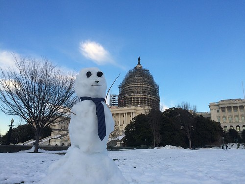 Snowman in necktie at US Capitol, Washington, DC #blizzard2016