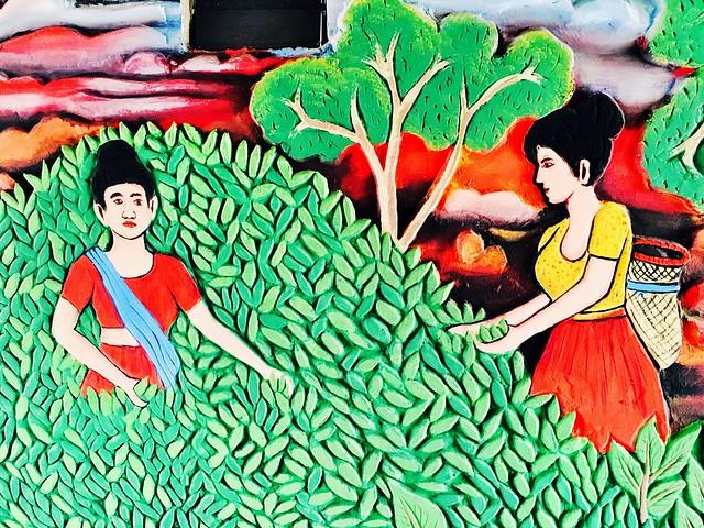 Village scenery art on wall!