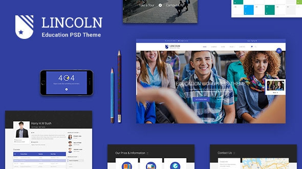 Themeforest Lincoln – Educational Material Design PSD Theme