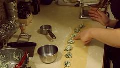 Making our first ravioli!