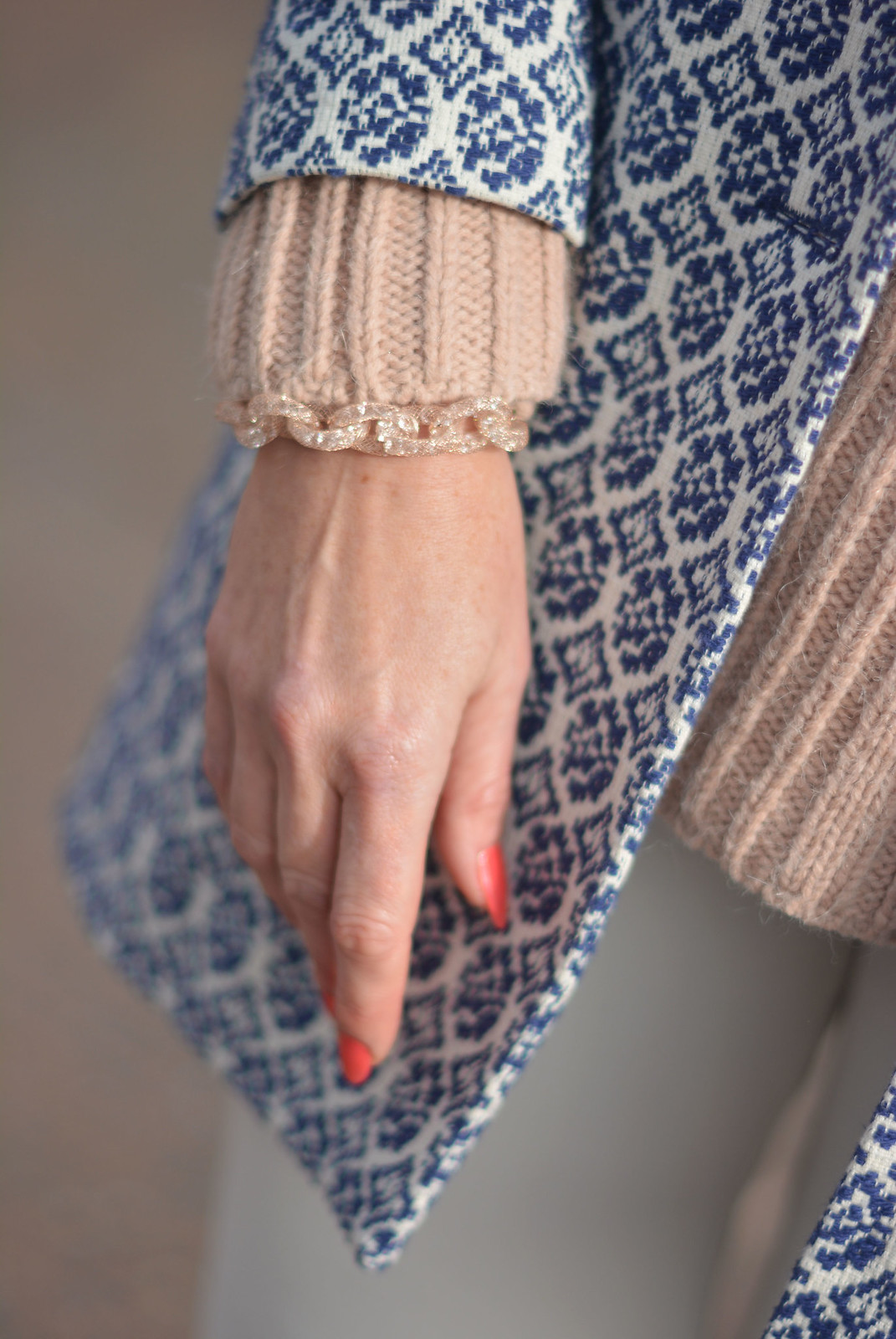 Blush pink, white and blue jaquard winter layers with sparkly jewellery | Not Dressed As Lamb