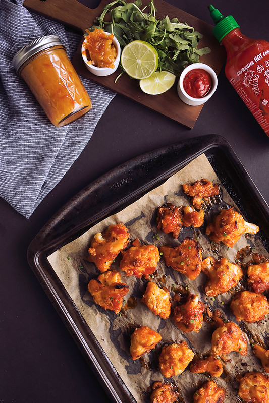 "Spicy Orange Sriracha Cauliflower ""Wings"""
