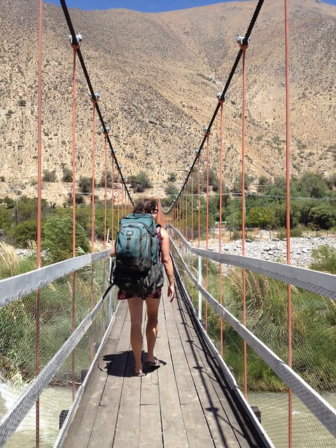 Crossing the Bridge in Diaguitas, Valle de Elqui, Chile