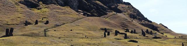 panorama de la carrière où on taillait les moai