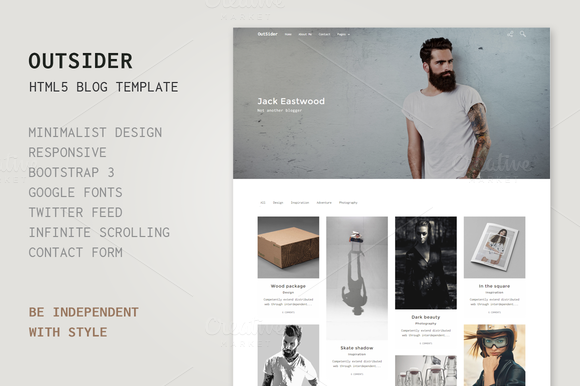 Creativemarket Outsider – HTML5 Blog Template