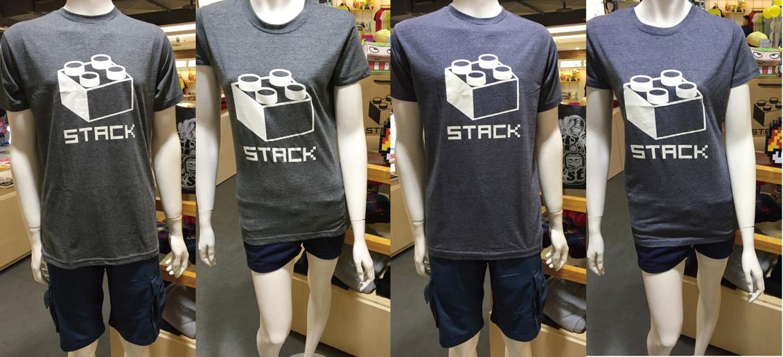 stack-經典積木-麻花色短t-男女版-黑灰/NAVY