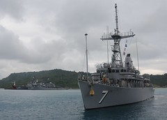 In this file photo, USS Patriot (MCM 7) departs White Beach Naval Facility in Okinawa earlier this year. (U.S. Navy/Lt. David Levy)