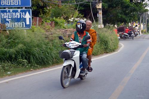 travel thailand asia religion monk motorbike ayutthaya
