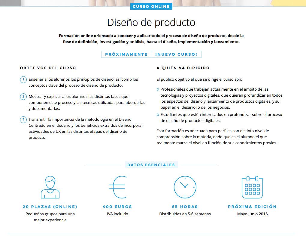 Descripción del curso de diseño de producto