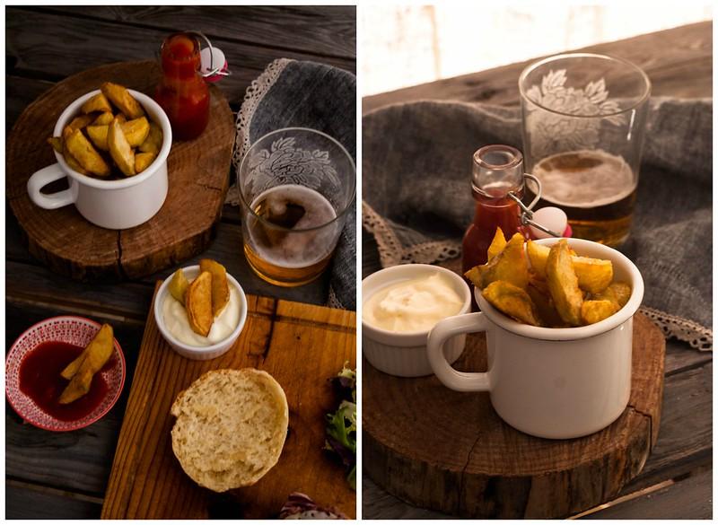 Hamburguesa casera con patatas gajo