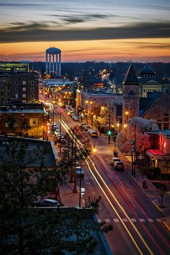 Notley Hawkins Photography, Columbia MO Photographer, Columbia MO Photo, Columbia Missouri Photography, Downtown Columbia Missouri, Walnut Street, architecture, sunset