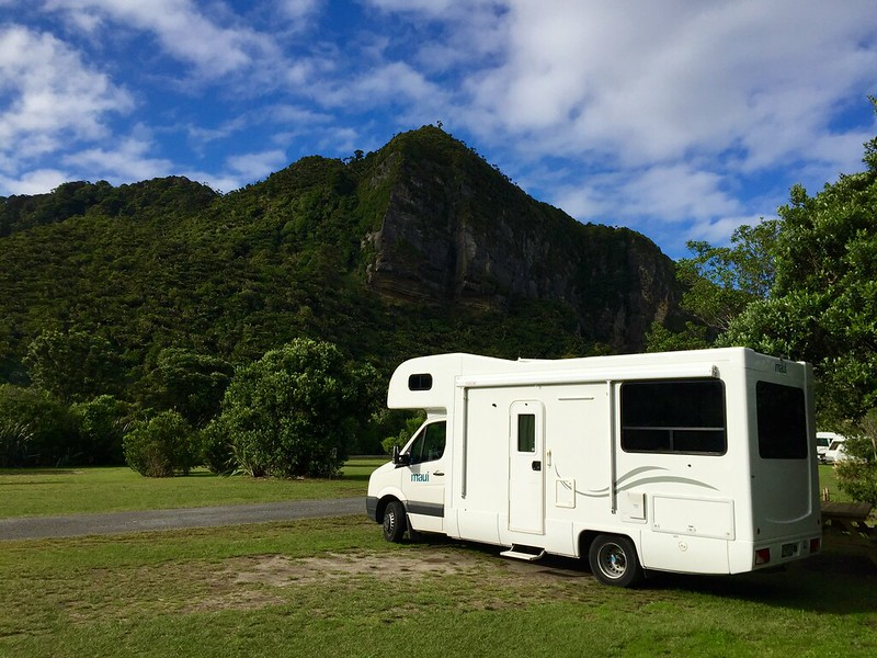 Punakaiki Beach campsite, South Island, New Zealand