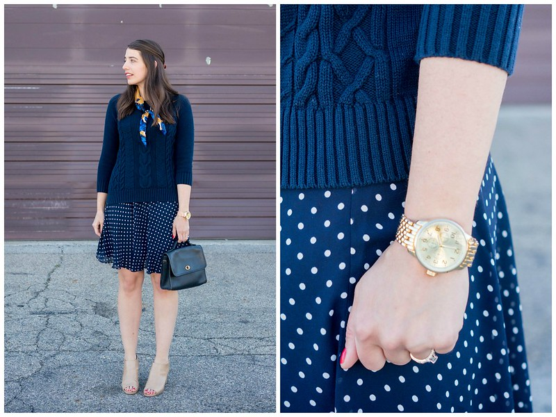 navy polka dot skirt + navy sweater + floral silk scarf; parisian style outfit | Style On Target