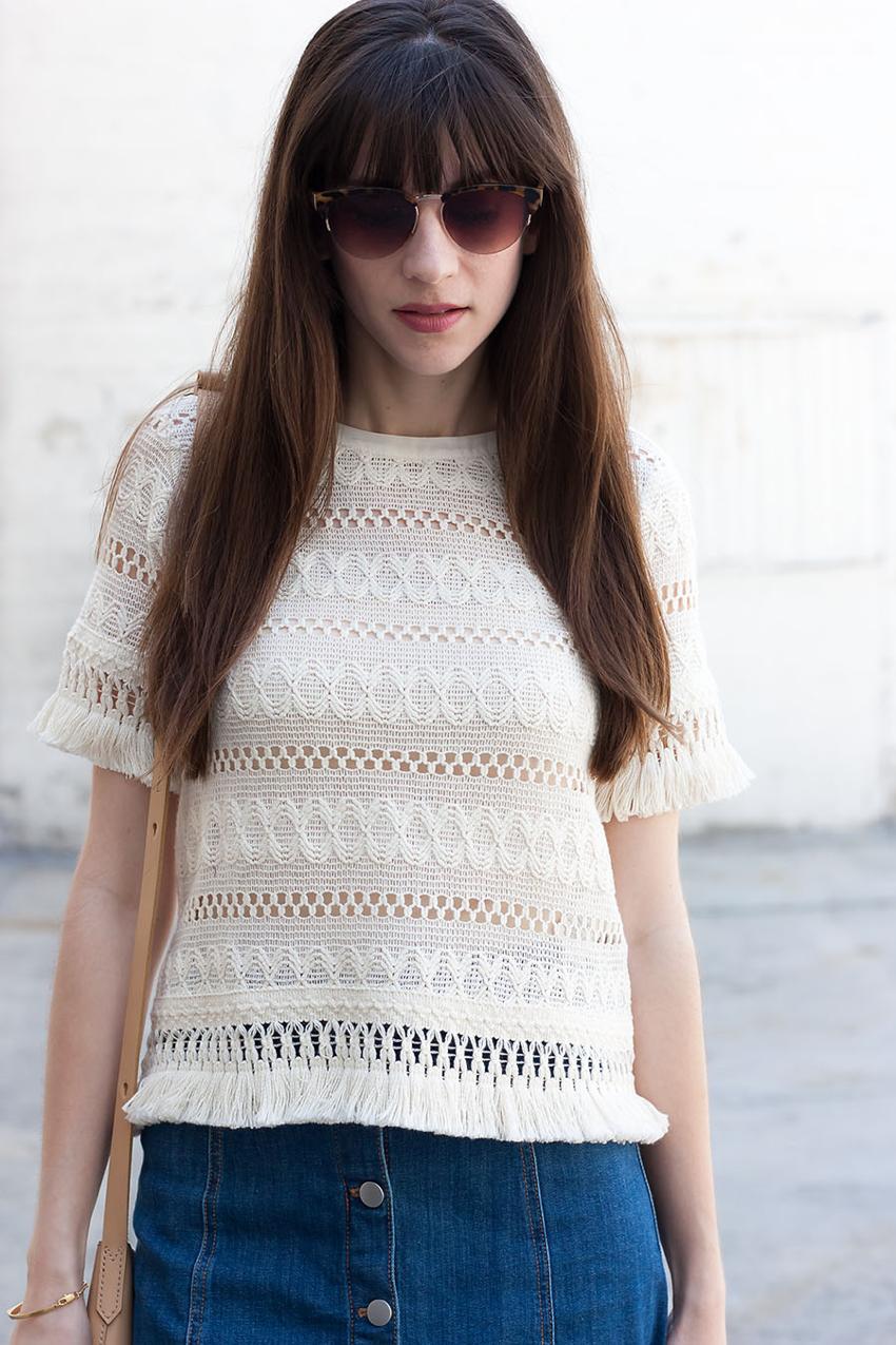 Fringe Crochet Top, Denim Skirt