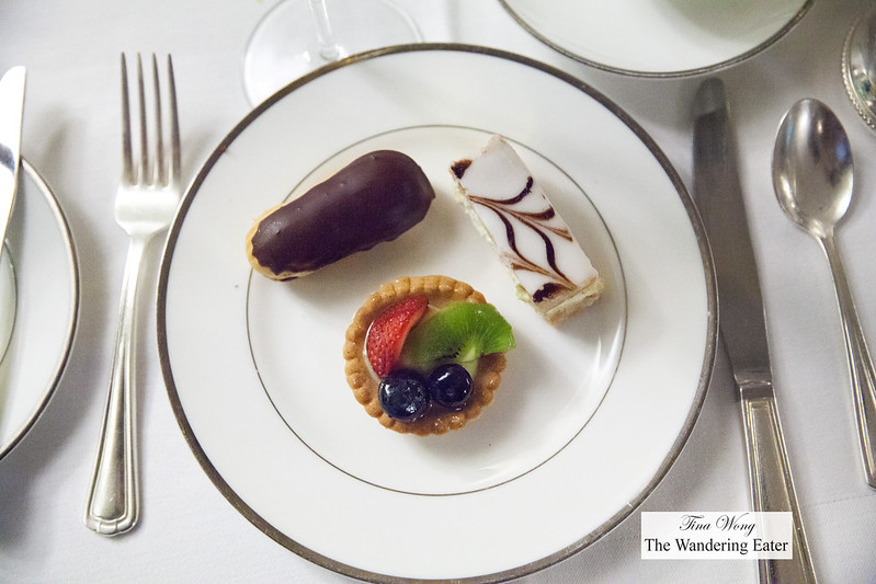 Chocolate eclair, Napoleon, fruit tart