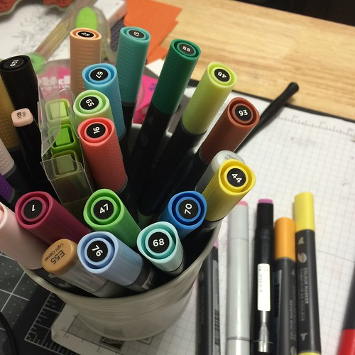 Markers on table