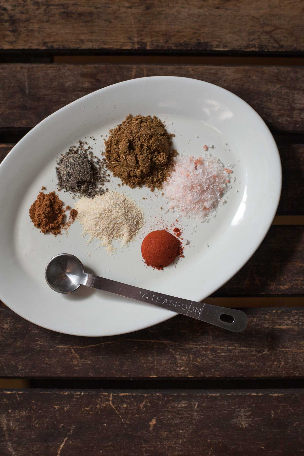 Spices for an easy dry rub for Pork Chops with Cranberry-Apple Compote (Paleo, Whole30) | acalculatedwhisk.com