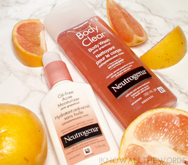 neutrogena rapid clear oil free acne moisturizer body clear wash pink grapefruit
