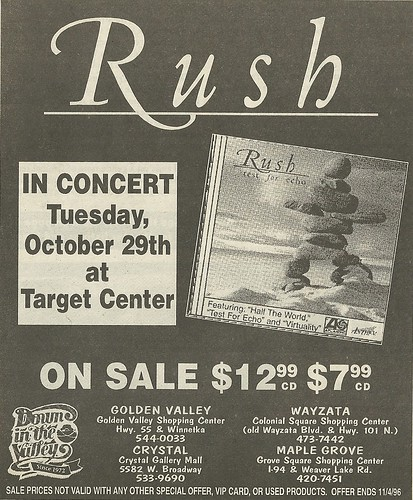 10/29/96 Rush @ Target Center, Minneapolis, MN / Test For Echo CD Ad