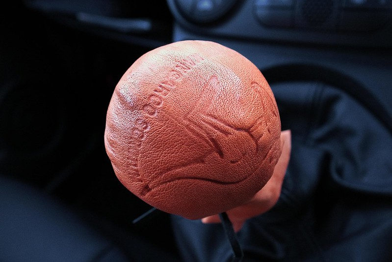 kangaroo scrotum as a shift knob cover