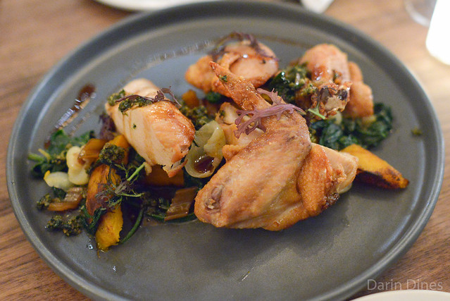 Chicken, squash, pickled chard stems, pumpkin seed relish