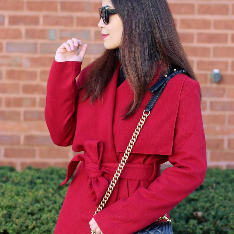 SheIn red coat, Quay Sunglasses