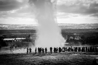 Watching the Geyser in Iceland