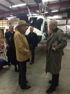 Reps. Larry Haler and Tom Dent tour DNR's fire suppression equipment and facilities at the Olympia airport