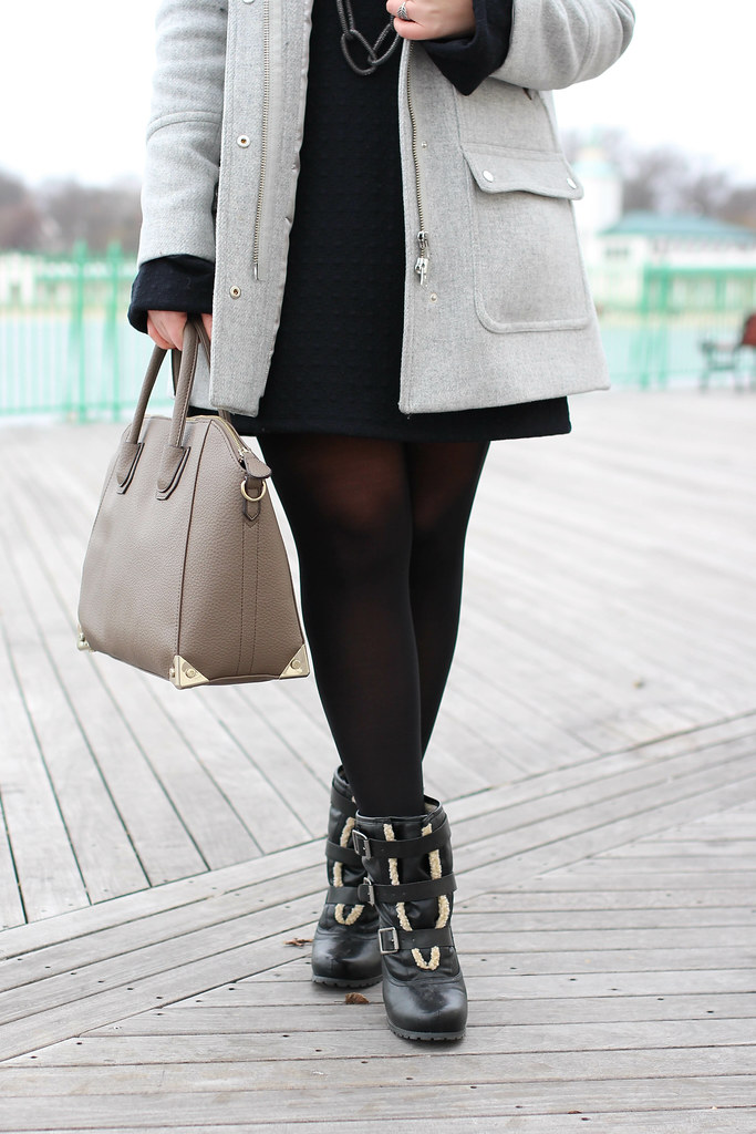 Back in Black | Sweater Dress and J.Crew Chataeu Parka