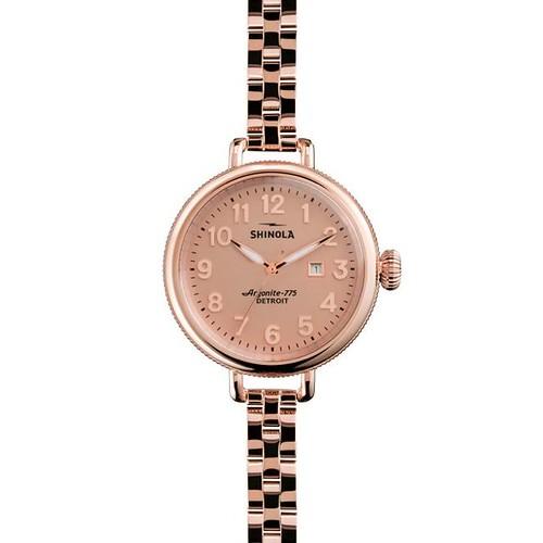 Shinola's Birdy 34mm Watch in classic Rose Gold ($525).