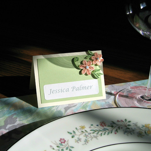 Quilled Wedding or Bridal Shower Place Card Tutorial