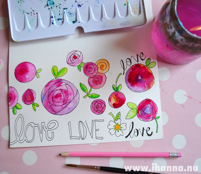 Watercolor roses and love - made by iHanna