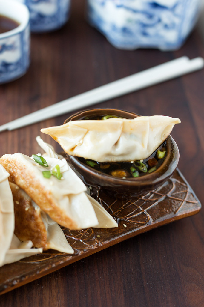 Chicken and Vegetable Potstickers in Honey-Soy-Sriracha Dipping Sauce