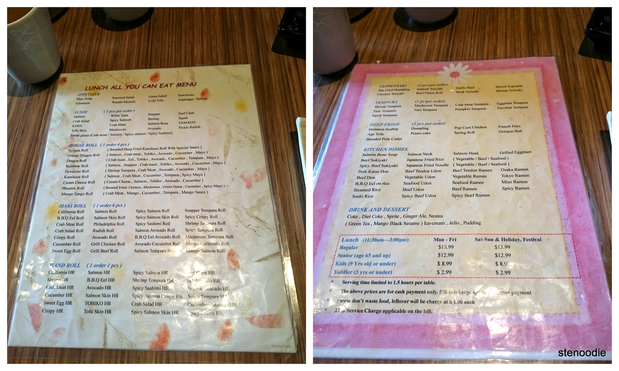 Syogun Sushi all-you-can-eat lunch menu