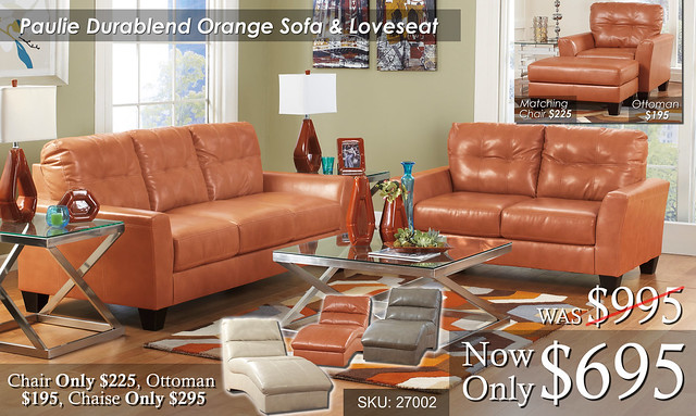 Paulie Durablend Orange Living Set