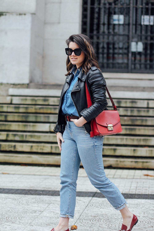 total look denim ties and heels patchwork blouse with furla metropolis bag