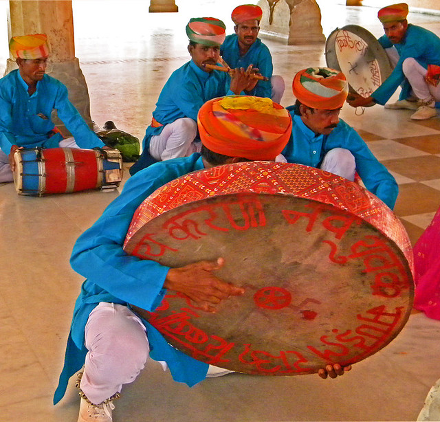 A drummer at the Jaipur Palace in India