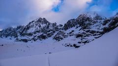 Piz Sella 3500m i drugim planie Piz Roseg 3918m. W drodze na lodowiec Vedretta di Scerscen.