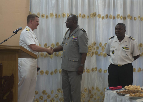 Thu, 04/14/2016 - 12:40 - 160414-N-WV703-613 LIBREVILLE, Gabon - (April 14, 2016) Rear Adm. Thomas Reck, vice commander, U.S. Sixth Fleet, center, thanks Gen. Auguste Roger Bibaye Itandas, the Gabon Chief of Defense, at the closing reception for host nation training and USNS Spearhead (T-EPF 1) port visit to Libreville, Gabon at the Mixed Mess of the Gabonese Defense Forces April 14, 2016. The Military Sealift Command expeditionary fast transport vessel USNS Spearhead is on a scheduled deployment to the U.S. 6th Fleet area of operations to support the international collaborative capacity- building program Africa Partnership Station. (U.S. Navy photo by Mass Communication Specialist 3rd Class Amy M. Ressler)