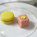 Lemon macaron and pink marzipan petit four cake